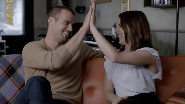 Les comédiens Thomas Beaudoin et Mylène St-Sauveur