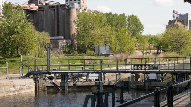 Le canal de Lachine et au loin les silos.