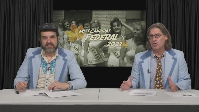 MC Gilles et Jean-René Dufort avec comme fond Miss Candidat fédéral 2021.