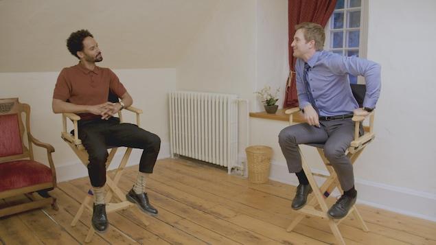 Iannicko N'Doua et Jean-Philippe Perras discutent.