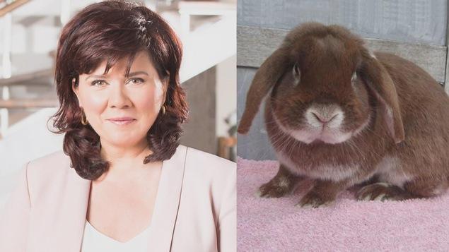 Image illustrant Marina Orsini à gauche et un lapin bélier hollandais aux longues oreilles à droite.