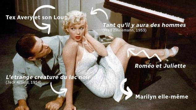 Une jeune femme blonde en robe blanche, tombée de son tabouret de piano, un homme à ses côtés.