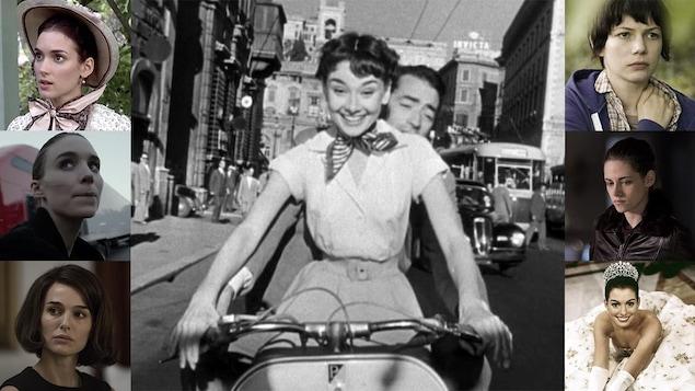 Audrey Hepburn entourée de photos d'actrices qui sont ses héritières