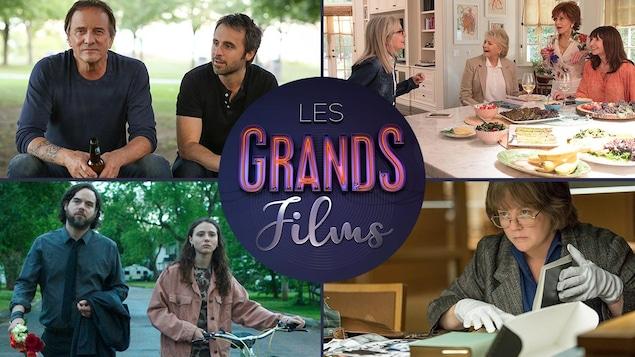 Quatre images de films encerclant le logo Les grands films