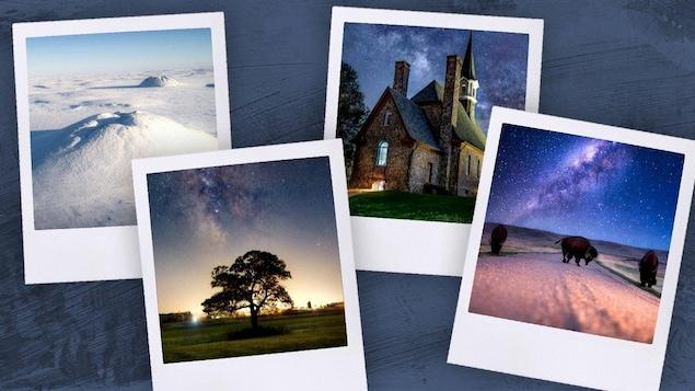 Montage d'image sous forme de 4 photos polaroid sur un fond foncé. Il y a 3 photo de nuit : d'un arbre, d'un manoir et d'un bison sous le ciel étoilé puis une photo de monts enneigés.