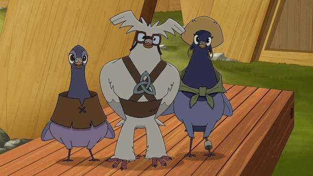 Trois pigeons rieurs