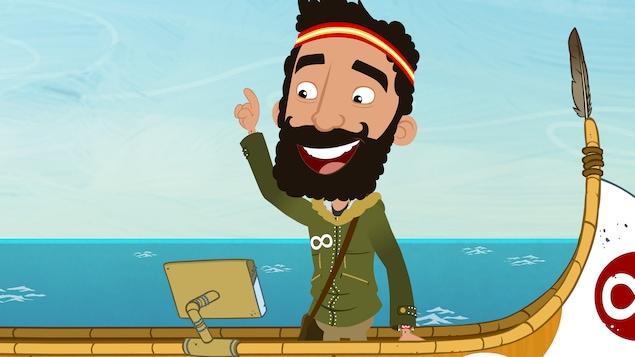 Il est à bord du canot cocasse. Il sourit.