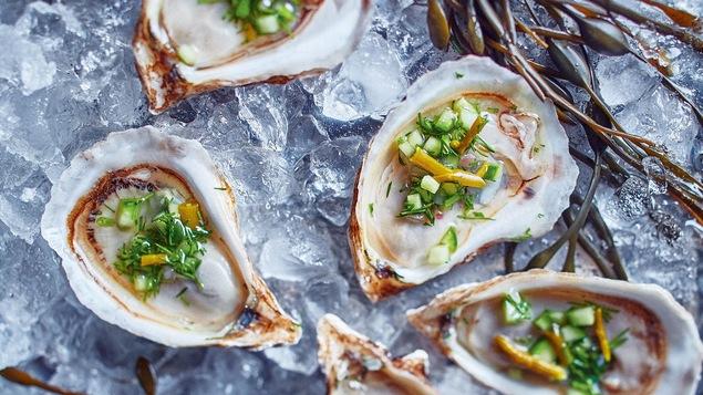 Les huîtres sont posées sur de la glace