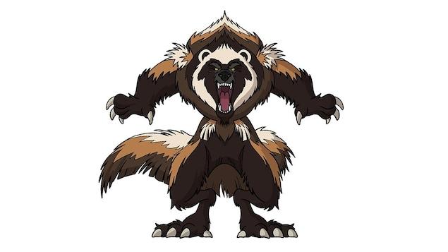 La créature ressemble à un ours, elle montre ses dents