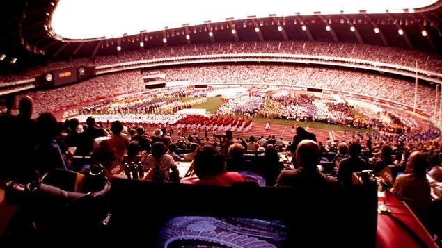 La cérémonie d'ouverture des Jeux olympiques de Montréal le 17 juillet 1976