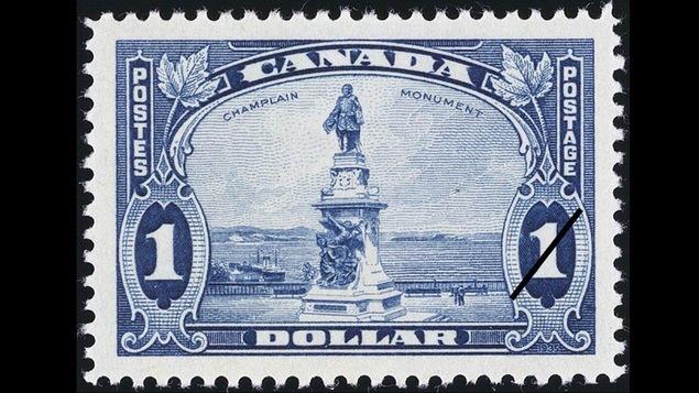 Timbre représentant le monument de Champlain à Québec (1935)