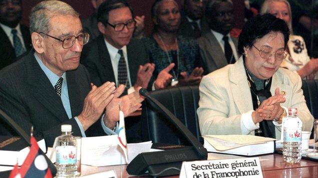Le secrétaire général de la Francophonie, Boutros Boutros-Ghali en 1997