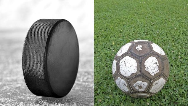 Une rondelle de hockey et un ballon de soccer