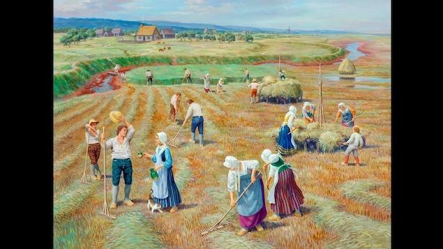 <i>La récolte</i>, tableau de Claude Picard - Lieu historique national de Grand-Pré