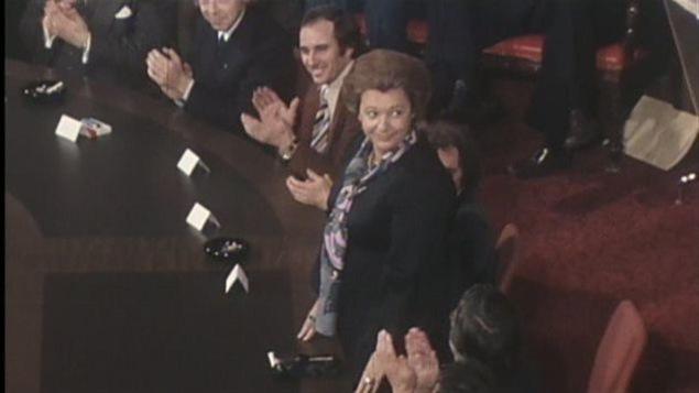Lise Payette lors de la présentation du premier cabinet Lévesque en 1976