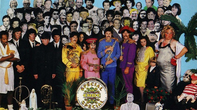 Photomontage tiré de la une du spécial musique du magazine <em>Croc</em> d'octobre 1988.