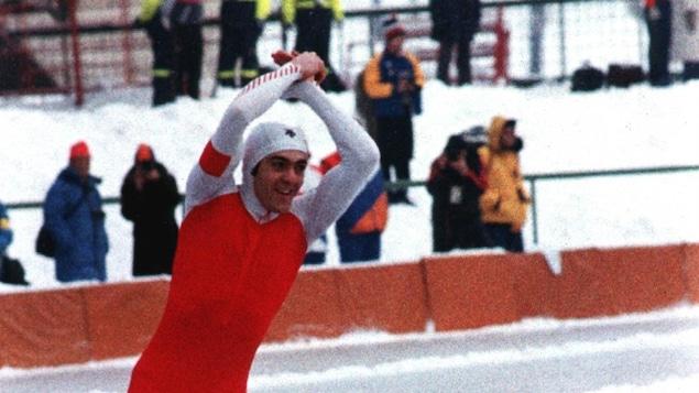 Gaétan Boucher lors des Jeux olympiques de Sarajevo en 1984