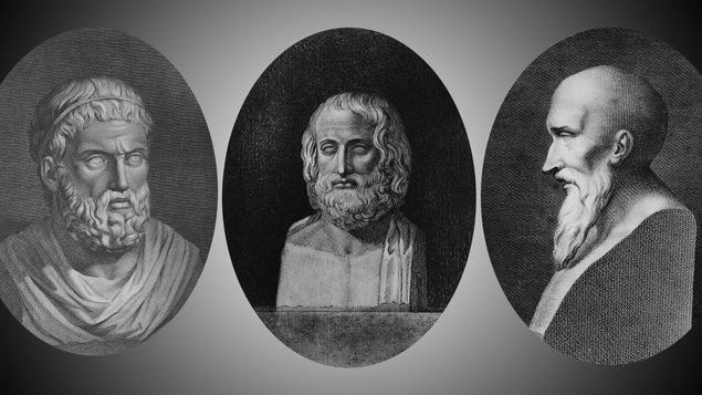 Le buste des dieux grecs Sophocle, Euripide et Eschyle