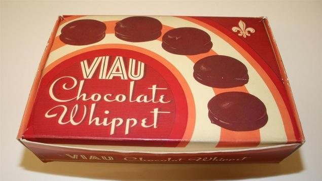 Boîte en carton pour les biscuits Whippet, vers 1945