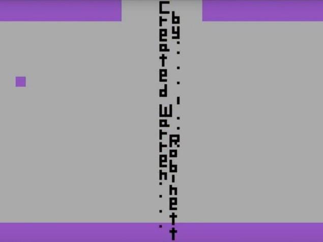 Une capture d'écran du jeu Adventure montrant le message caché «Créé par Warren Robinett».