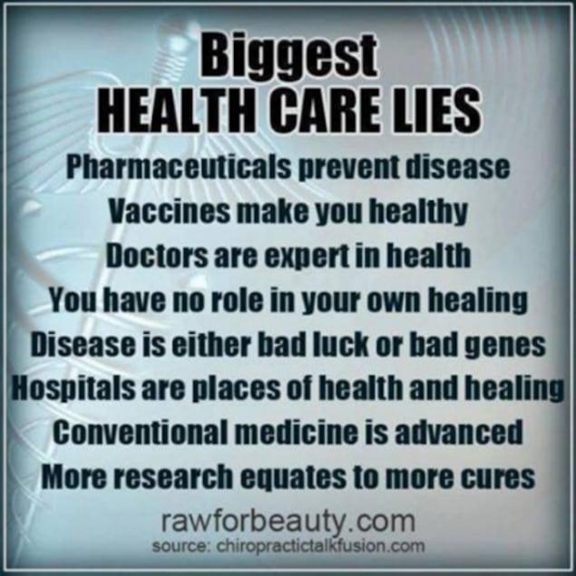Image tirée du compte Facebook professionnel d'un chiropraticien manitobain qui énumère «Les plus gros mensonges du système de santé».
