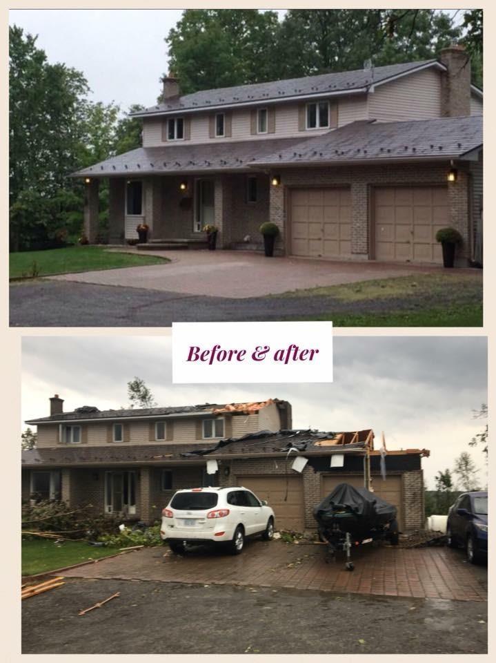 Une photo montrant l'extérieur d'une maison avant et après les ravages d'une tornade.