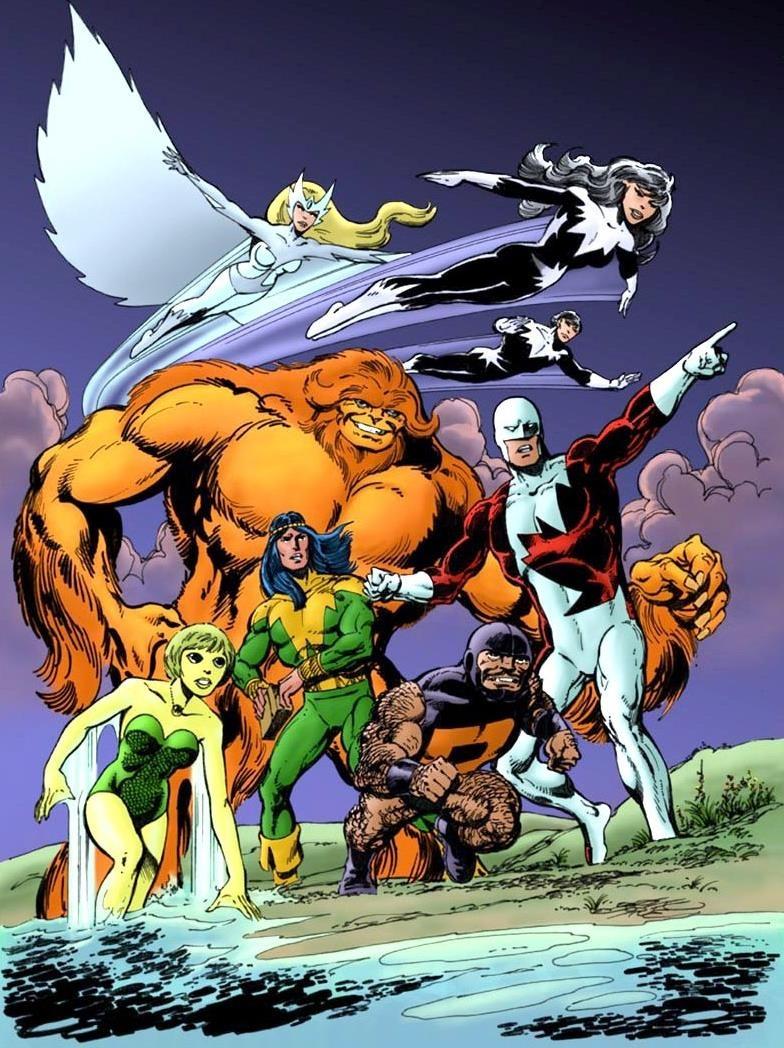 Dessin d'un groupe de superhéros.