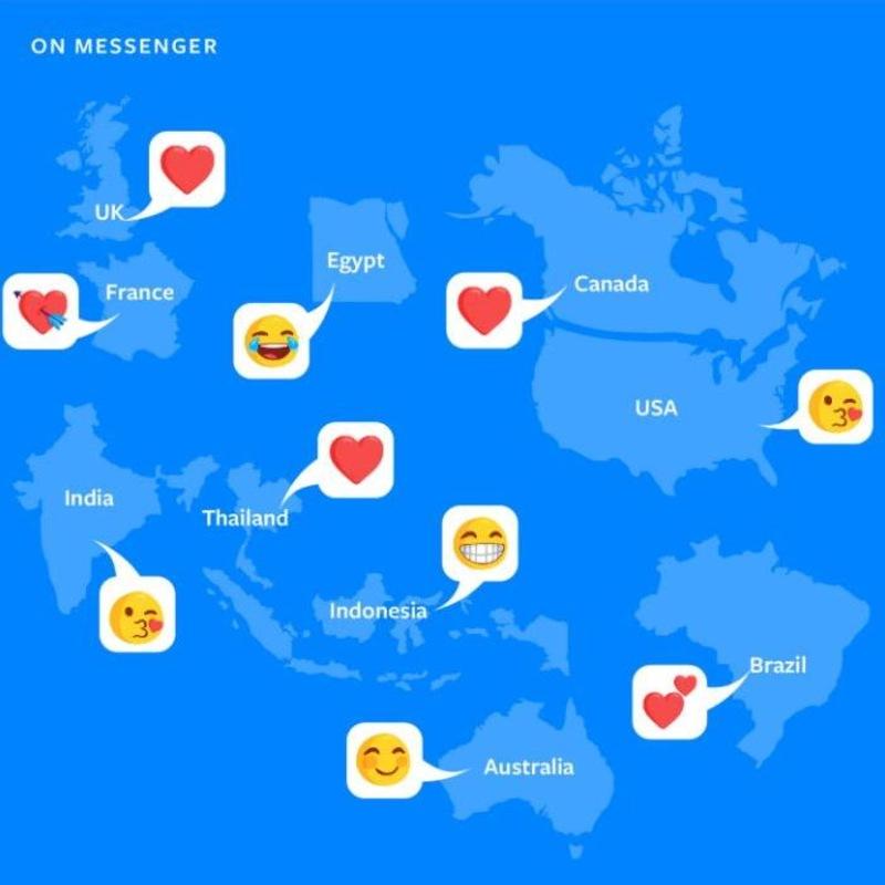 Voici les émojis les plus populaires sur Messenger, selon les pays.