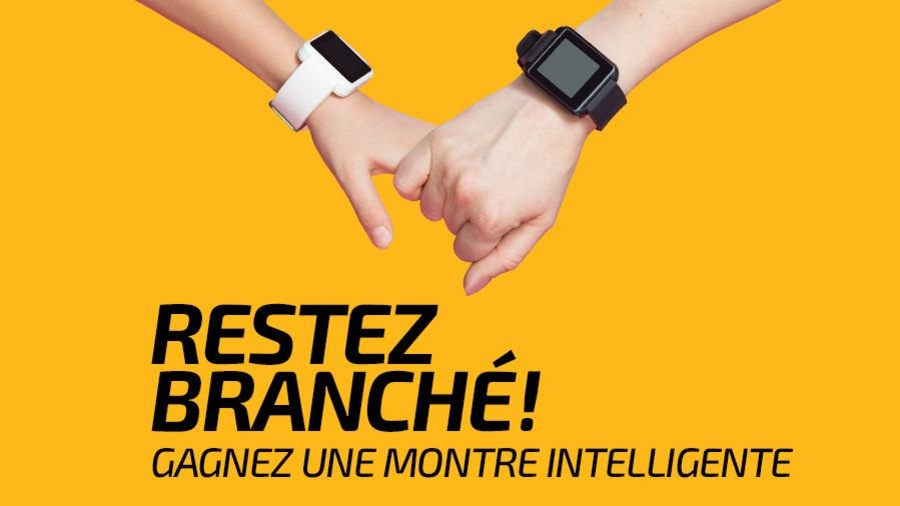Montage de deux mains portant une montre intelligente.