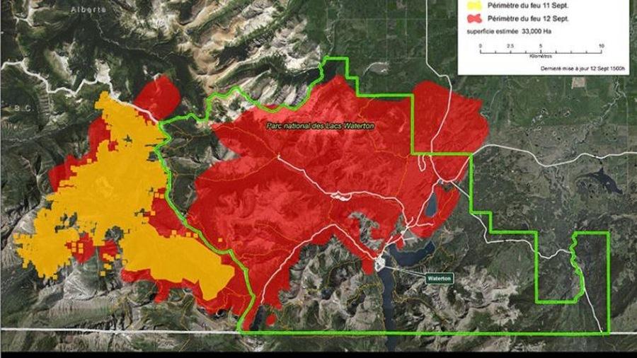 Carte de la progression du feu de forêt dans le parc national des Lacs-Waterton