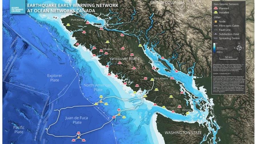 Carte des détecteurs de séismes en Colombie-Britannique
