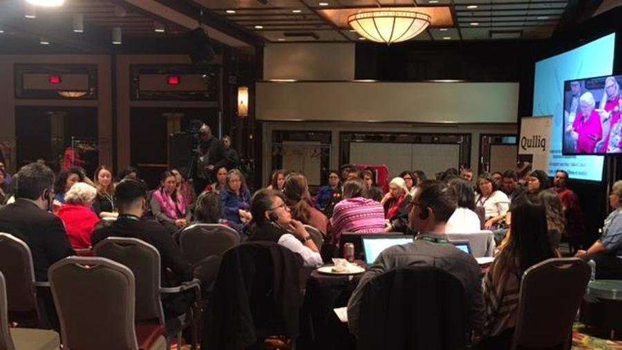 Un cercle de partage organisé par l'Enquête nationale sur les femmes et les filles autochtones disparues et assassinées lors des audiences à Montréal.
