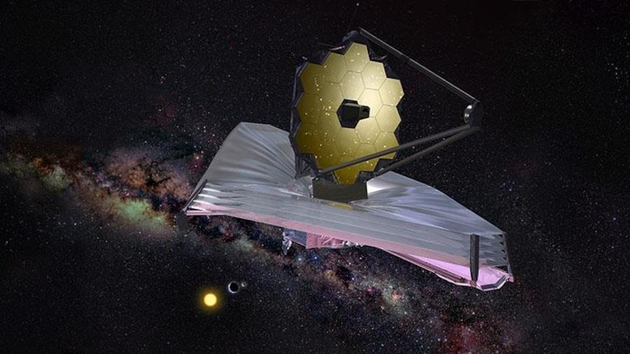 Représentation dans l'espace du futur télescope James Webb