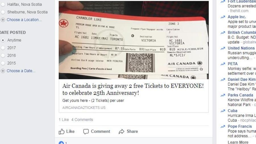 Une fausse offre de billets gratuits d'Air Canada