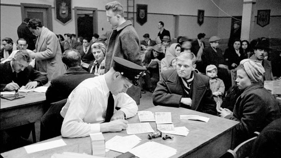 Examen des nouveaux arrivants au pays dans la salle réservée aux immigrants, Quai 21, Halifax (Nouvelle-Écosse), mars 1952