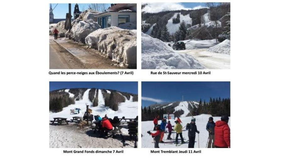 Quatre photos de centres de ski québécois avec des pistes enneigées.