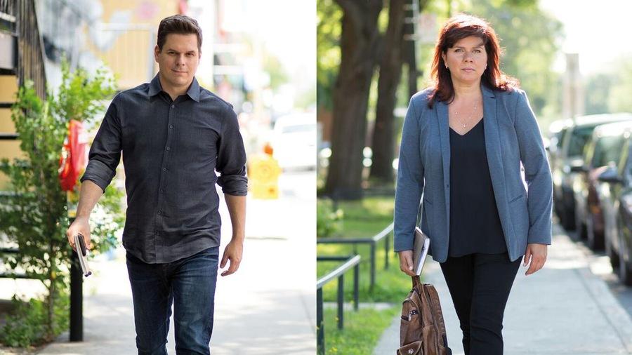 Montage photo de Patrick Lagacé et Marina Orsini qui marchent dans la rue d'un air déterminé.