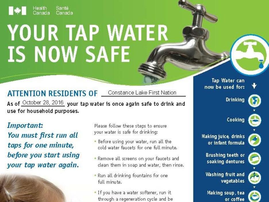 L'avis officiel de Santé Canada qui dit que l'eau du robinet est sécuritaire.