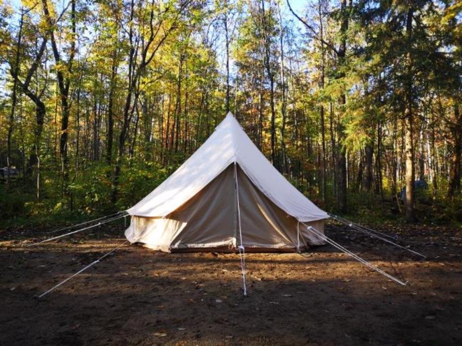 Photo d'une tente de camping dans un bois.