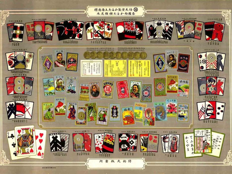 Une affiche montrant différentes cartes à jouer colorées et ornées de symboles japonais.