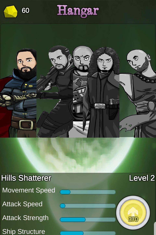 Le dessin représente une image du niveau 2 du jeu. 5 hommes et les niveaux de force et de rapidité y sont indiqués.